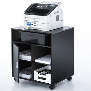 Black Printer Cart Rolling Computer Stand Portable Office Table File Storage
