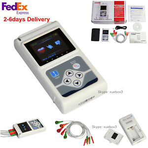 Us 3 lead 24hour Holter Monitor Ecg ekg System Machine pacemaker Analyzer Contec