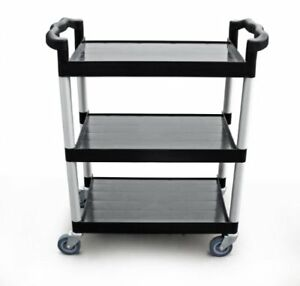 New Star 1 Pc Heavy Duty Utility Cart Bus Cart 350 Lbs Load 3 Tier Cart Black