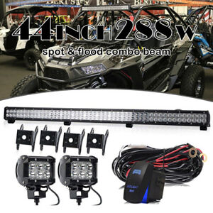 For Can am Commander 288w 44 Led Light Bar Spot Flood Combo Driving 2x 4 Pods