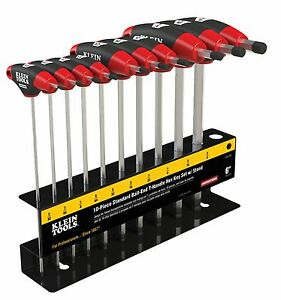 Klein Tools Jth610eb 10pc 6 Sae Ball end Journeyman T handle Set With Stand
