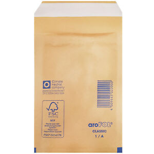 Arofol Small Gold Bubble Envelopes 100mm X 165mm Size 1 a Padded Mailers