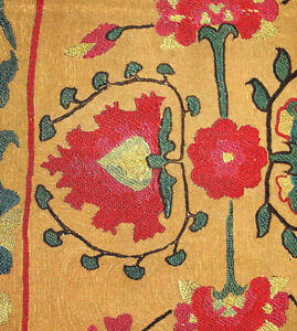 Early Uzbek Nurata Silk Embroidery Suzani Fragment