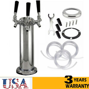 Triple Faucet Draft Beer Tower Kegerator Stainless Steel 3 Tap For Home Party