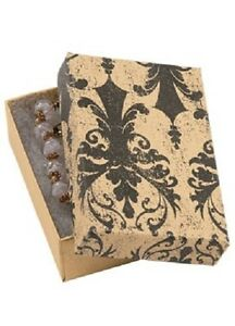 Jewelry Boxes 50 Black Tan Damask 3 1 16 X 2 1 8 X 1 Elegant Cotton Filled