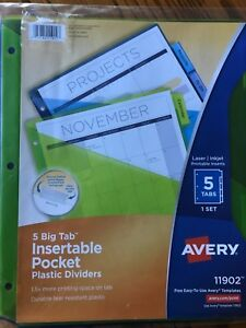 Avery Big Tab Insertable Plastic Dividers With Pockets 5 Ea pack Of 25 11902