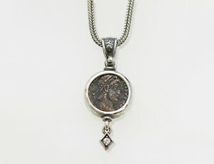 Sterling Silver Pendant Cz Accent With Genuine Ancient Roman Coin W Cert 001