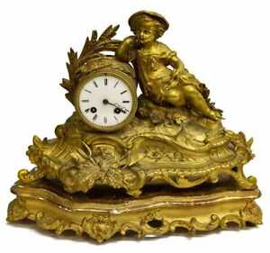 19th C French Gilt Figural Antique Mantle Clock On Gilt Wood Stand Vincenti