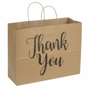 100 Large Kraft Thank You Paper Shopping Bags 16 X 6 X 12 Retail Gift