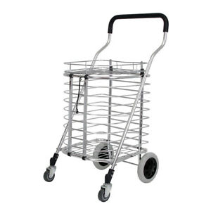 Heavy Duty Portable Folding Shopping Utility Basket Cart Trolley Aluminum Alloy