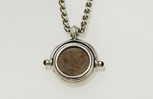 Sterling Silver Necklace With A Genuine Ancient Roman Bronze Coin W Cert 015