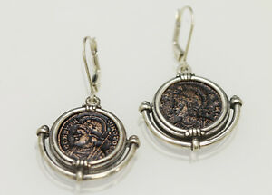 Sterling Silver Earrings Genuine Ancient Roman Coins W Cert 012