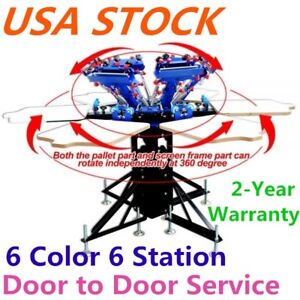 Usa 6 Color 6 Station Screen Printing Machine Micro adjust Press Printer T shirt