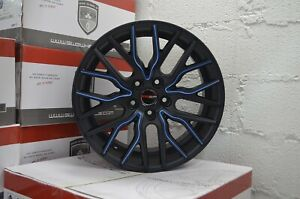 4 Wheels 18 Inch Matte Black Blue Flare Rims Fits Acura Tl 6 Speed 2004 2006