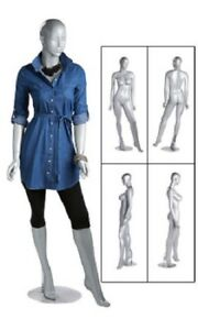 Silver Female Mannequin 36 Bust 26 Waist 33 Hips 5 10 Tall Full Body