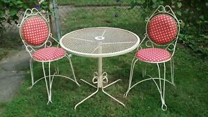 Rare Vtg 3 Pc Wrought Iron French Cafe Bistro Patio Dinette Set Table