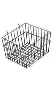 6 Gridwall Wire Baskets Black Grid Slatwall Pegboard 12 X 12 X 8 Powder Coat