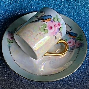 Antique Demitasse Blue Bird Cup And Saucer Hand Painted And Signed By Artist