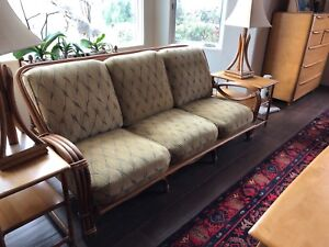 Heywood Wakefield Ashcraft Rattan Bamboo Sofa And Chair Free End Tables