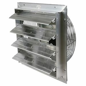 Industrial Exhaust Fan 16 In Select Speed Shutter Wall Mount Garage Ventilator