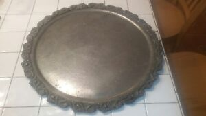 Huge Antique Early American Pewter Charger Tray 22 Inches Unmarked 7lb 14oz