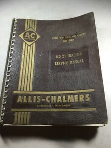 Allis Chalmers Hd21a Crawler Tractor Dozer Service Manual