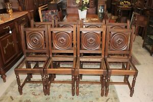 French Antique Carved Oak Renaissance 8 Dining Chairs With Free Upholstery