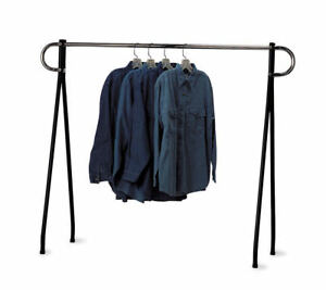 Clothing Rack Black Chrome Single Rail Retail Storage Garment Salesman 48 X 60