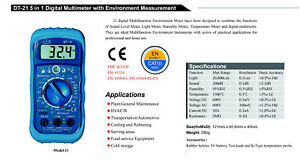 5in1 Thermometer Light Lux Humidity Sound Multi Meter Dt 21 Dmm Noise Tester New
