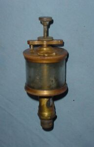 Early Nathan Swing Top Hit Miss Gas Steam Engine Cylinder Brass Oiler