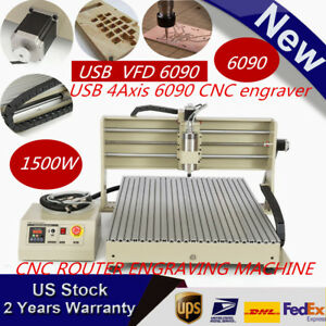 Usb 4 axis Vfd 6090 1500w Cnc Rrouter Engraver Engraving Milling Carving Machine
