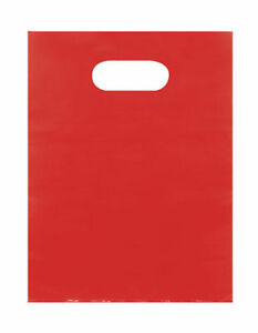 Plastic Bags 1000 Red Shopping Merchandise Die Cut Handles 9 X 12 Diecut