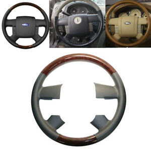 Gray Leather Wood Steering Wheel Cover Decor 04 08 Ford F150 Fx4 Lincoln Mark
