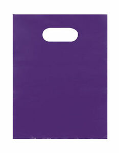 Plastic Bags 1000 Purple Shopping Merchandise Die Cut Handles 9 X 12 Lightweight