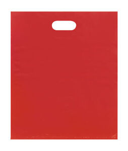 Plastic Bags 500 Red Shopping Merchandise Die Cut Handles 15 X 18 X 4 Diecut