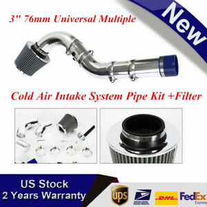 New 3 76mm Universal Multiple Combined Cold Air Intake System Pipe Kit Filter