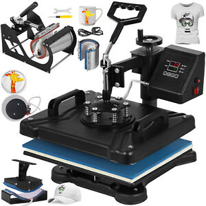 6in1 Digital T shirt Heat Press Transfer Swing Away Cup Plate Printing Brand New