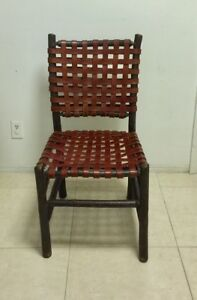 Genuine Old Hickory Tavern Chair 64d W English Mahogany Saddle Leather Nice