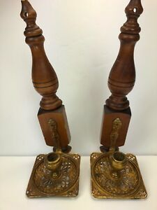 2 Vintage Art Deco Metal Wood Architectural Candle Holder Wall Sconce
