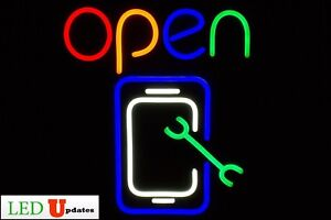 Ledupdates Cell Phone Repair Store Led Neon Open Sign On off Switch Ul Power