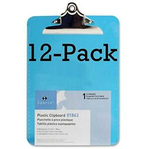 Value Pack Of 12 Sparco Plastic Clipboards transparent Plastic Clipboard 9x12
