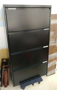 4 Drawer Black Lateral File Cabinet By Meridian Herman Miller Euc Pickup Only
