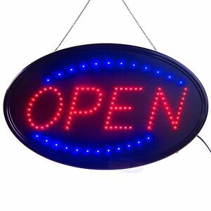 Large Led Open Sign Business Displays Oval Light Up Sign Open 2 Flashing Modes