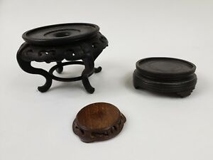 Vintage Antique Chinese Wood Stands Hand Carved Lot Of 3