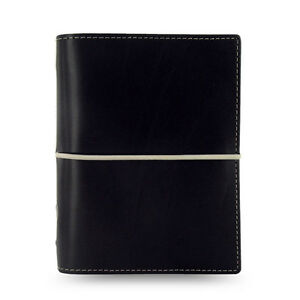Filofax Pocket Size Domino Organiser Diary Book Notebook Black Leather 027846