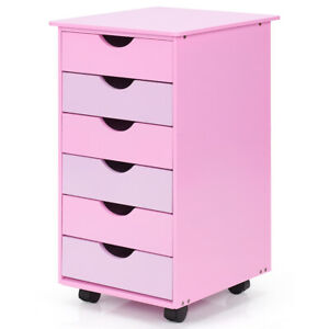 6 drawer Wood Mobile File Cabinet Rolling Organizer Storage Office Home Pink