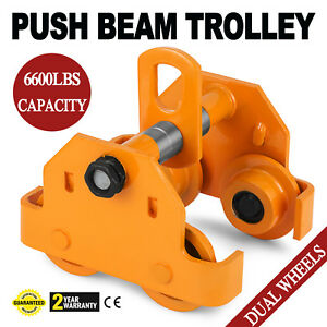 3 Ton Push Beam Track Roller Trolley I beam Track Overhead Capacity 6600lbs