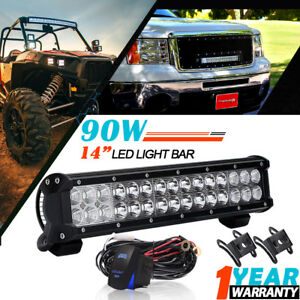 14inch 90w Cree Led Light Bar Spot Flood For Offroad Truck Tractor