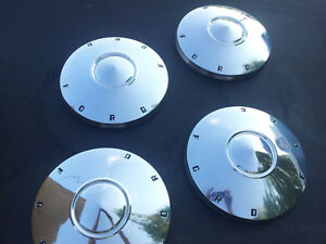 Nos Set Ford Hubcaps 1960 1961 1962 Dog Dish Poverty Galaxie Fairlane Stainless