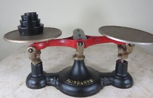Beautiful Cast Iron Fairbanks 3 Balance Scale 4 Display W Counter Weights